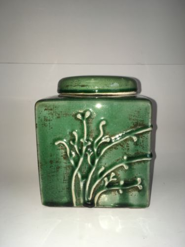 Ceramic Mid Century Jar with Lid Jade/ Green Color