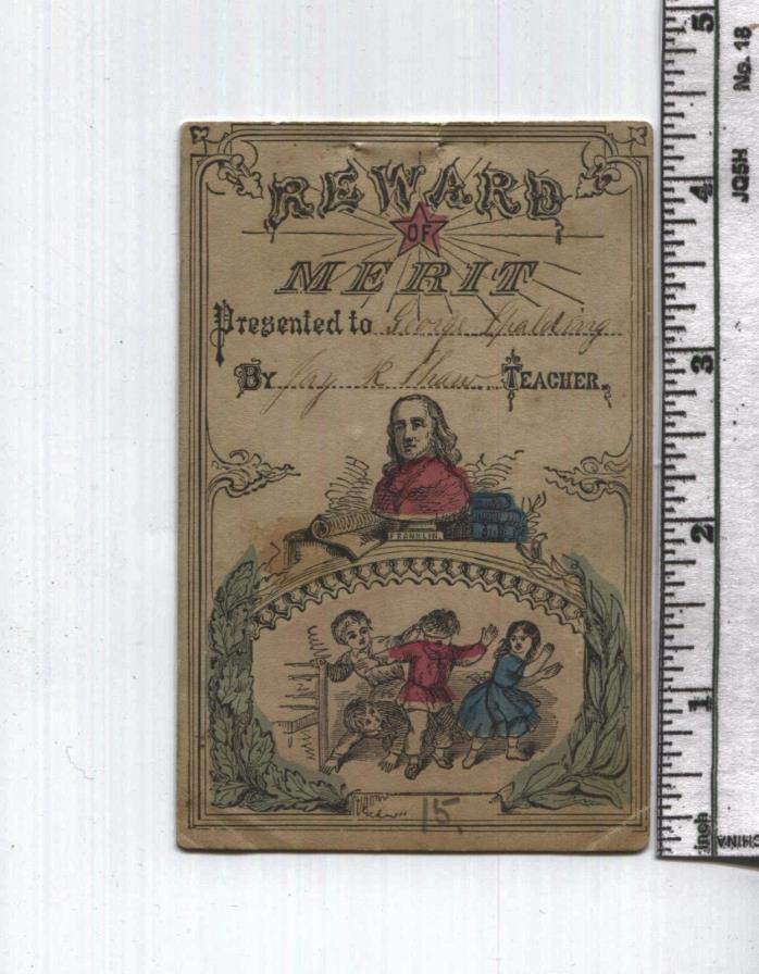 Antique Reward of Merit - Ben Franklin Bust - Hand Dated 4867 - Civil War Era