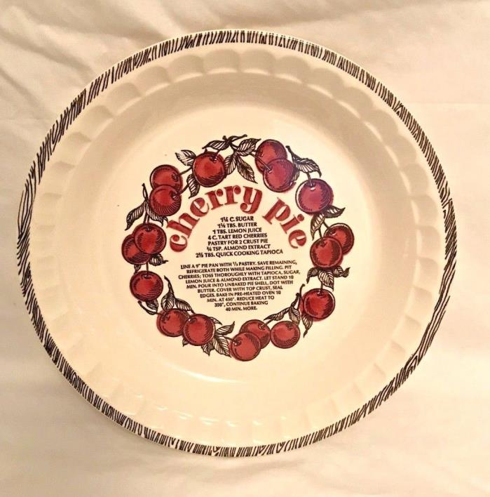 CHERRY PIE CERAMIC DEEP PIE PLATE WITH RECIPE VTG USA