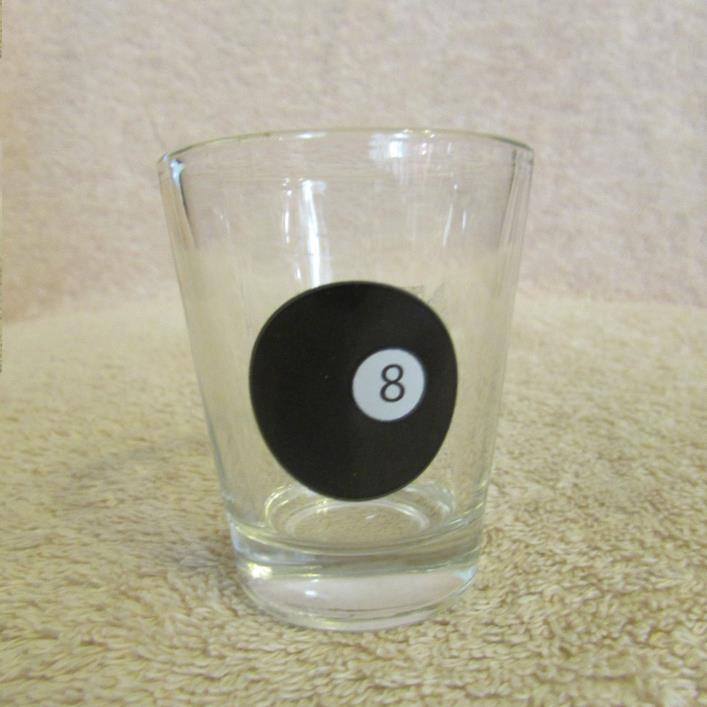 Billiard Pool # 8 Ball Shot Glass CLEAR GLASS