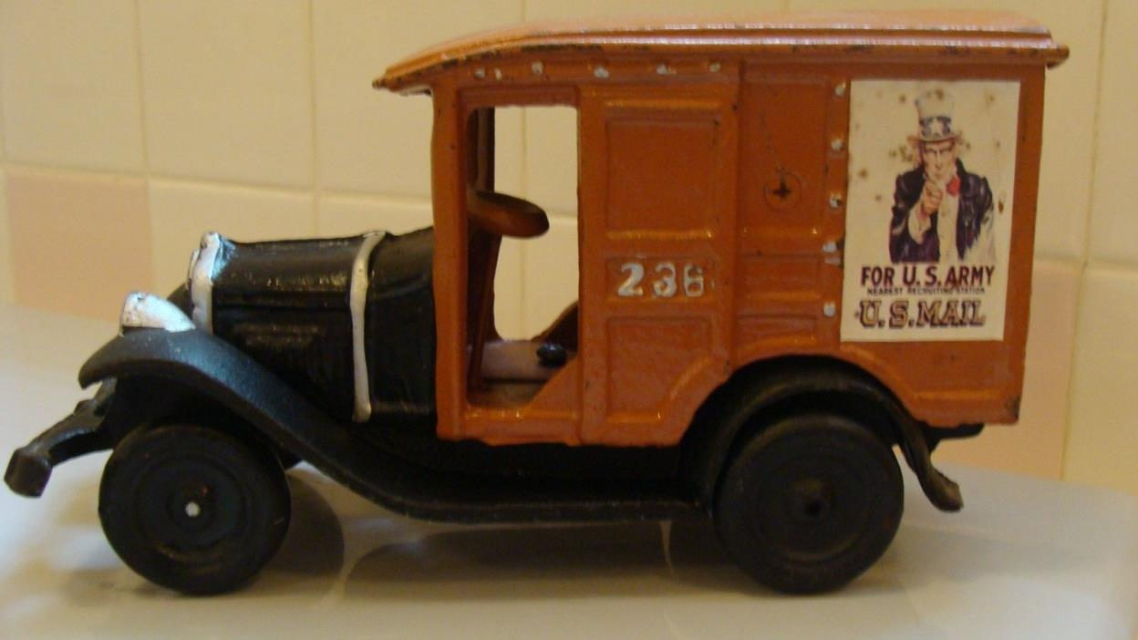 Vintage Heavy Cast Iron Uncle Sam U.S. Army Mail  Truck Toy  Size 9