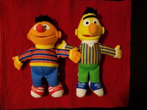 Bert and Ernie Sesame Street Stuffie Hasbro Dolls 10 inch 2012 -pre loved
