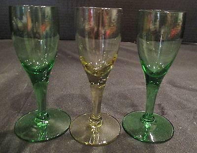 Shot Goblets Tiny & Cute 3 Total 2 green 1 Yellow 3 5/8