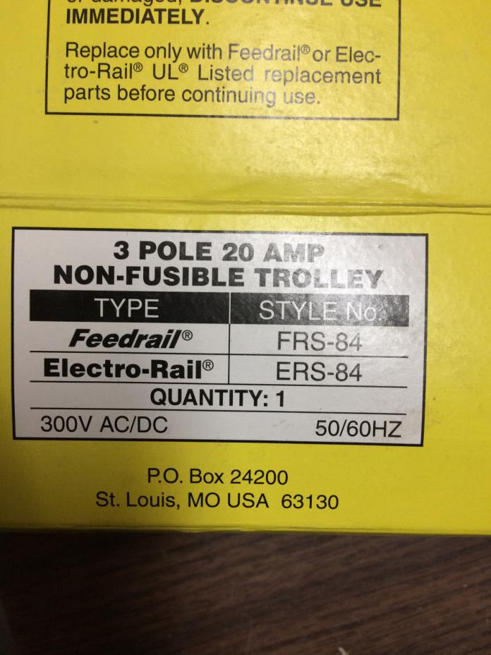 Electro-rail ERS-84 3 Pole 20 AMP Non-Fusible Trolley New in Box (6) price/each