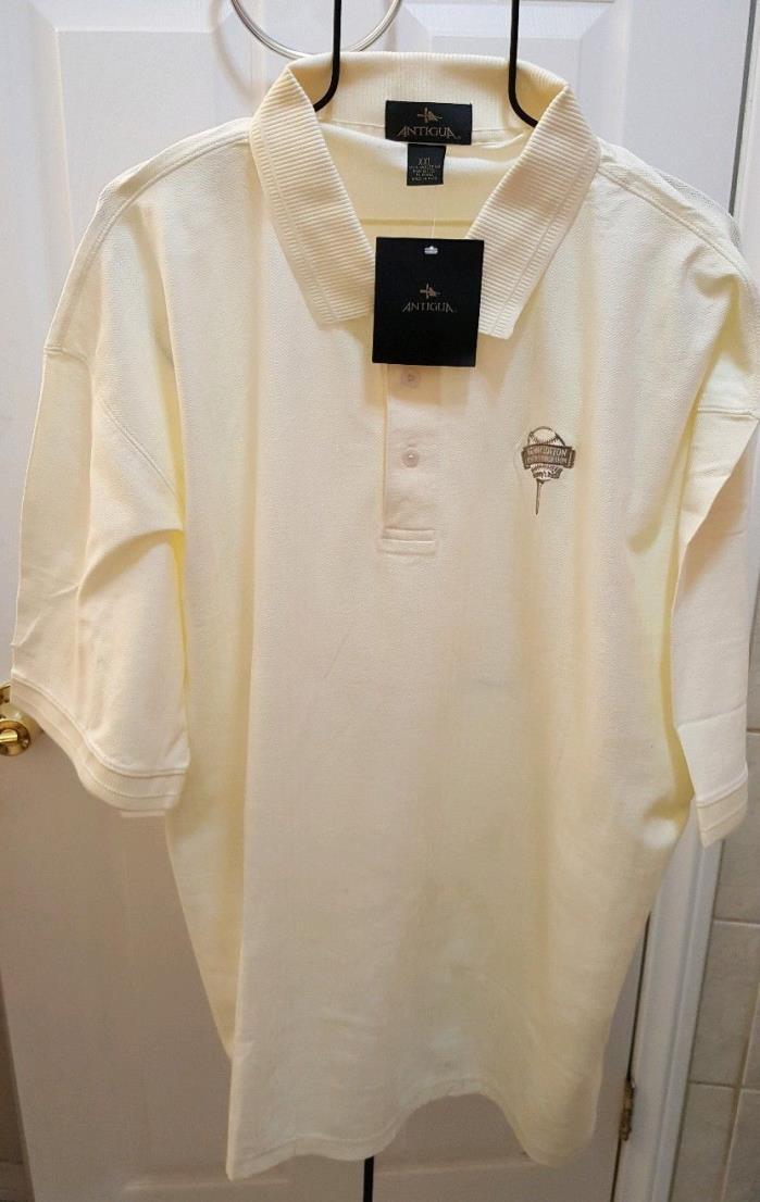 ANTIGUA Men XXL NWT Embroidered Polo Golf Shirt Kenny Lofton Bone/Yellow Color