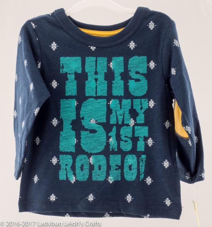 Boy's Shirt - This Is My First Rodeo - Horseshoe - Patch Elbows NWT Cowboy