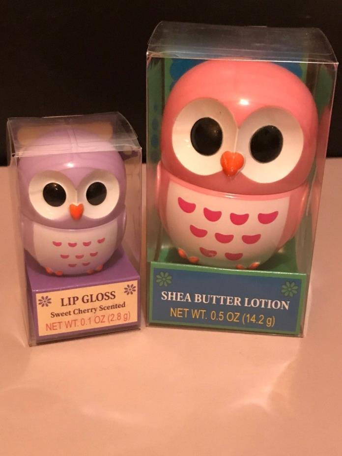 Owl Sweet Cherry Lip Gloss Balm & Owl Shea Butter Lotion Set Brand New Valentine