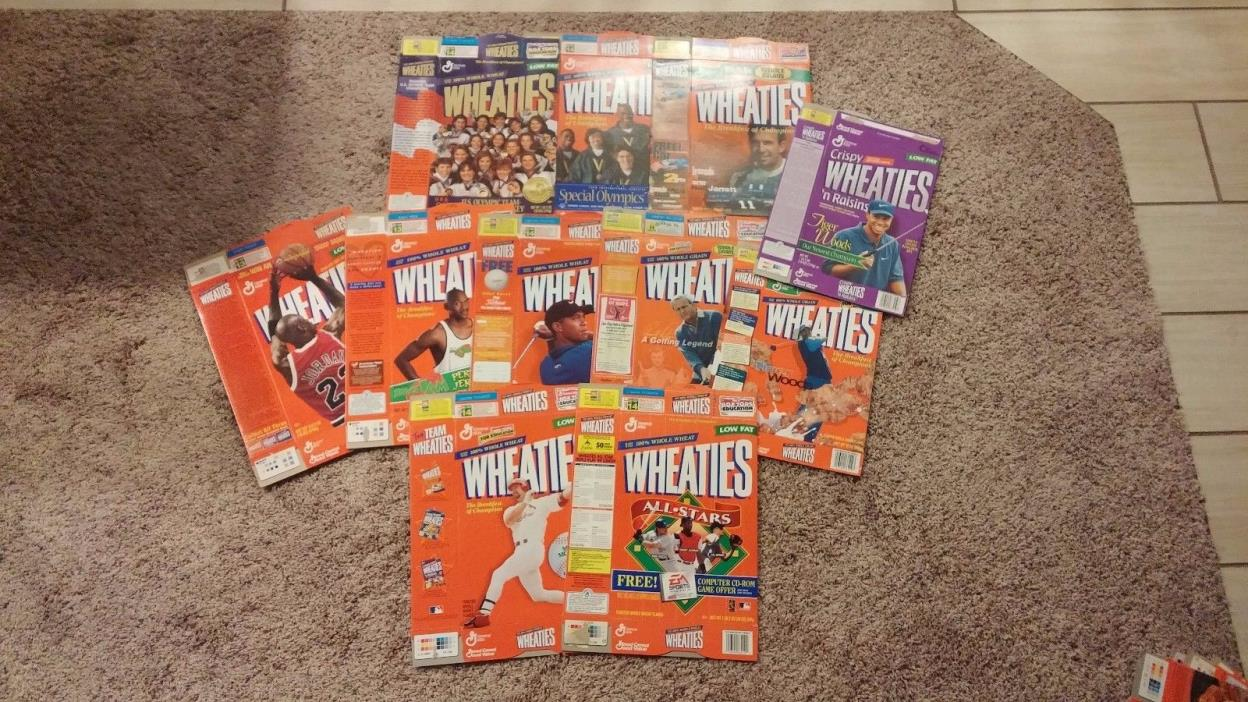 VINTAGE LOT OF 11 EMPTY WHEATIES  CEREAL BOXES Golf, baseball, Olympic, Football