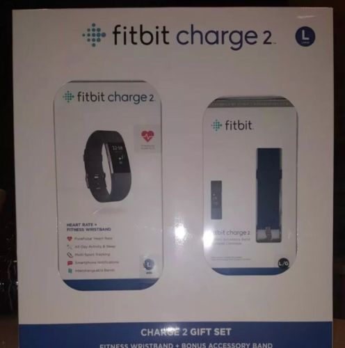 Fitbit Charge 2 Fitness Tracker + Wristband Gift Set Large L Brand New Sealed