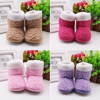 Newborn Kids Baby GirlsWool Warm Crib Shoes Boys Girls Anti Slip Boots Slipper