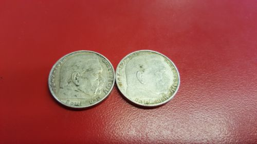 Lot of 2 1938 A  2 mark German WWII Silver Coin Third Reich Reichsmark