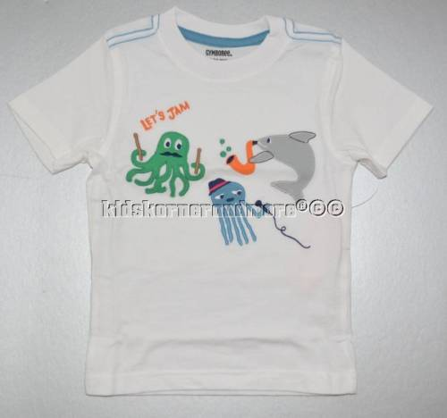 Gymboree Rock the Waves 5T Sea Creatures Band Shirt Twins Boys Shark Fish White