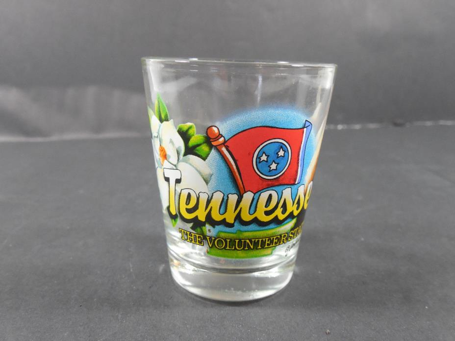 VINTAGE SOUVENIR TENNESSEE THE VOLUNTEER STATE FLAG CLEAR SHOT-GLASS DECOR BAR