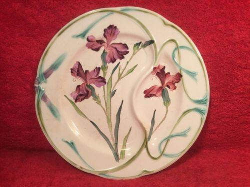 French Victorian Art Nouveau Majolica Asparagus Plate cv.1880, fm1186