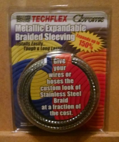 "TechFlex 1/2"" Chrome Metallic Expandable Braided Sleeving 25 FT NEW"