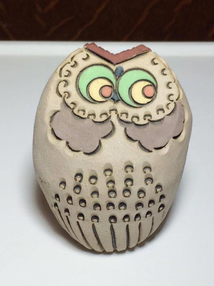 Vintage signed studio pottery owl