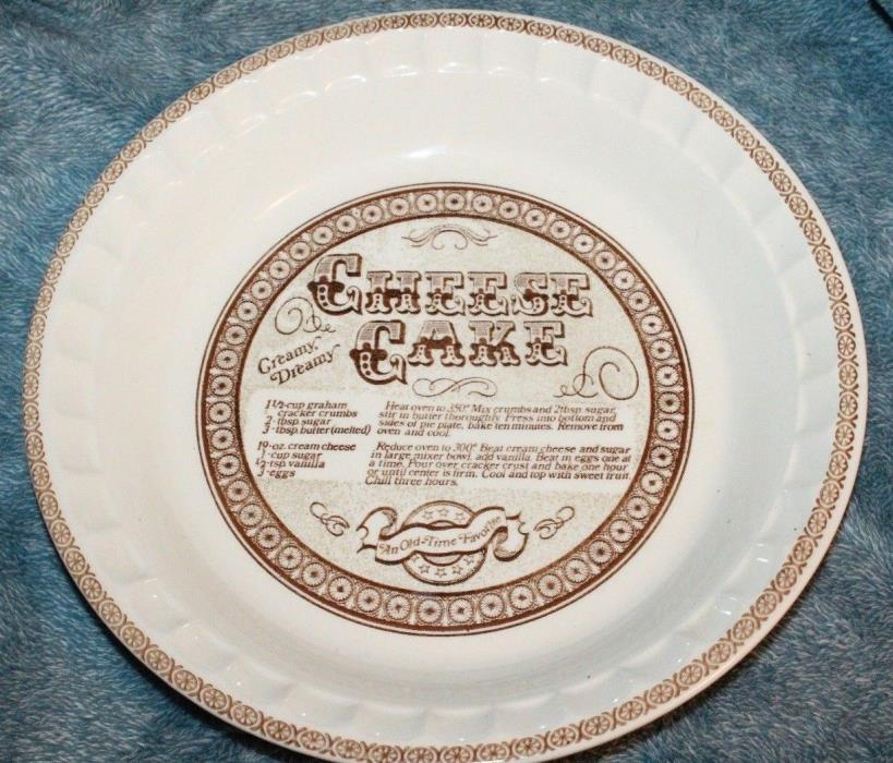 Royal China by Jeannette Pie Plate Cheesecake Design & Recipe Made in USA