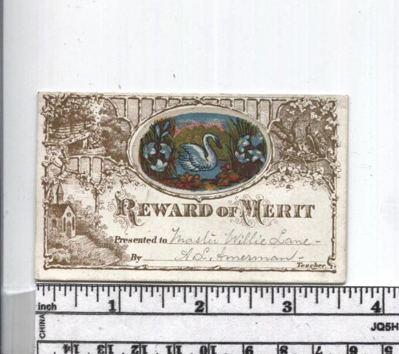 Antique Reward of Merit - RARE Insert Card - Colorful Swan