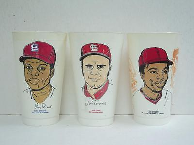 LOT of 3  St. Louis Cardinals Slurpee Cup MSA Brock 1973-1974 Torre Brock