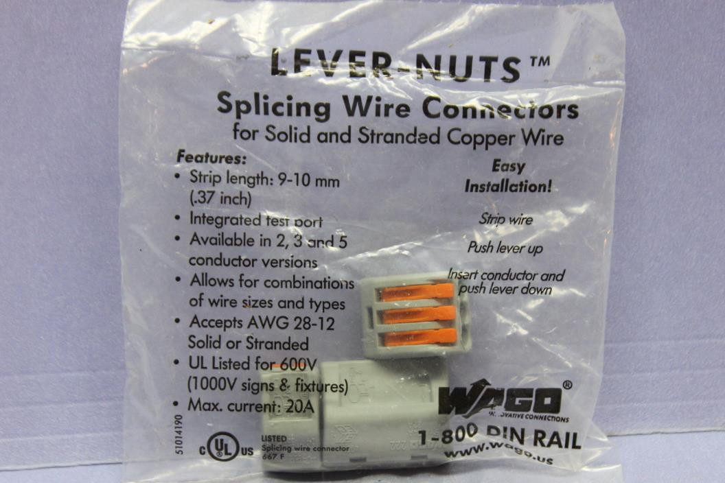 Pack of 3 Wago Lever Nuts - Sizes 2, 3 & 5 Poles -  Splicing Wire Connectors