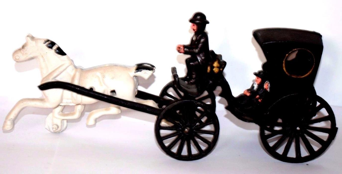 Cast Iron Olde Time  Horse, Driver, Passengers & Carriage