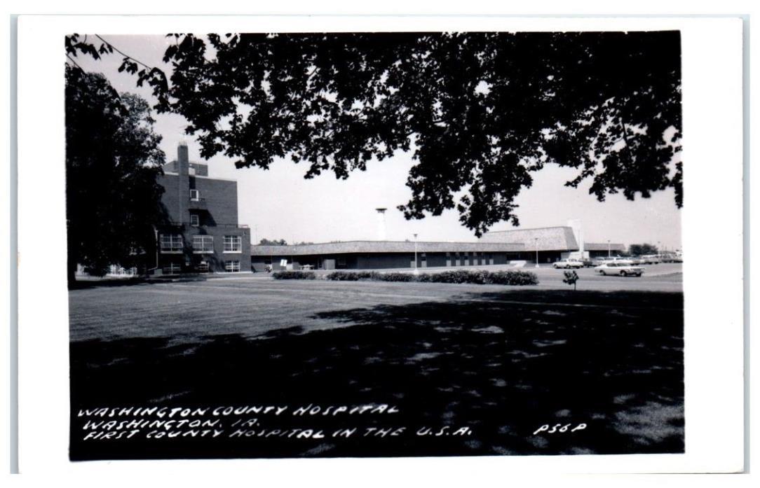 1950s/1960s Washington County Hospital, Washington, IA RPPC Real Photo Postcard