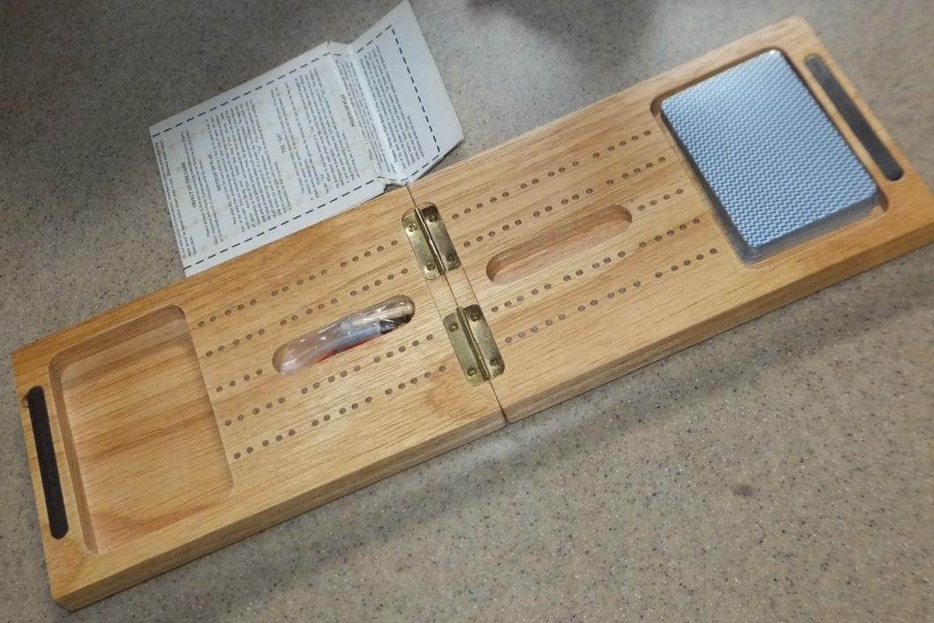 Blonde Wood Boxed Hinged Cribbage Board 7x5 w/Pegs Cards & Instructions