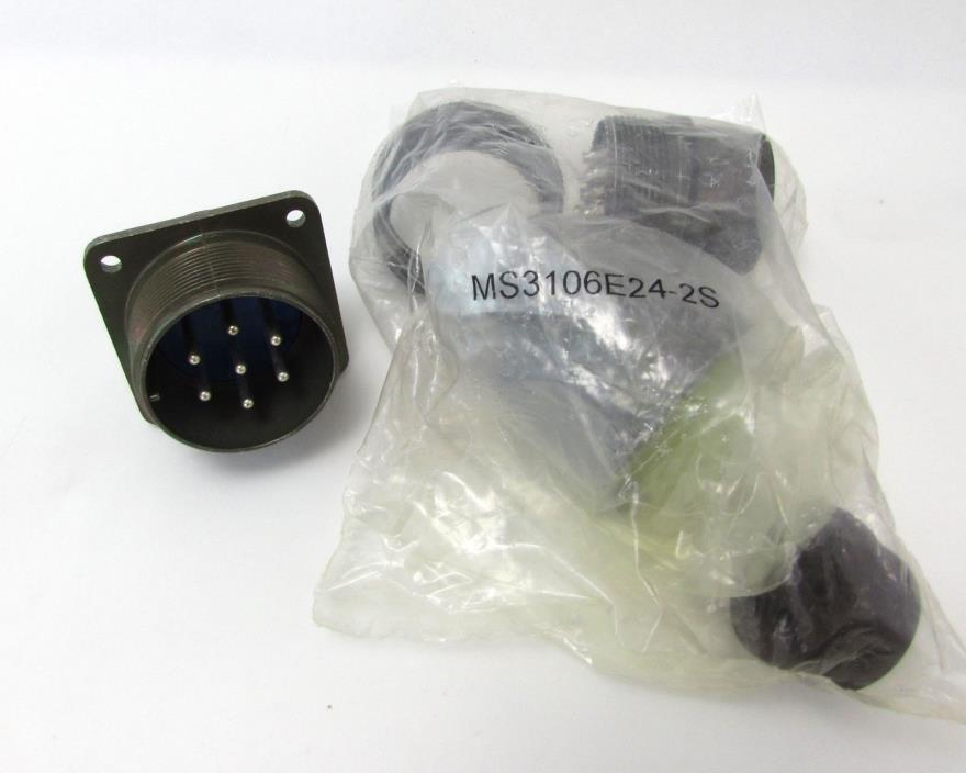 Amphenol MS3102A24-2S & MS3106E24-2S Mating Connectors 7POS 12AWG Solder =NOS=