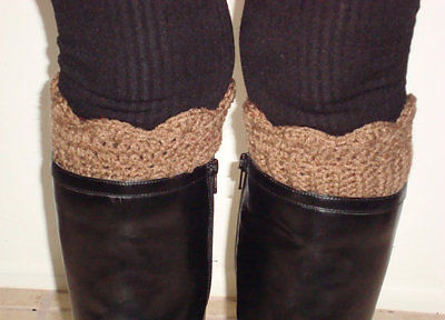 Crochet Boot Cuffs Leg Warmers Womens Scalloped Boot Socks Topper Brown Handmade