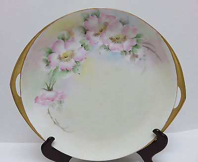 Signed 1928 Rosenthal Porcelain Hand Painted Roses Serving Dish Tray w/ Handles