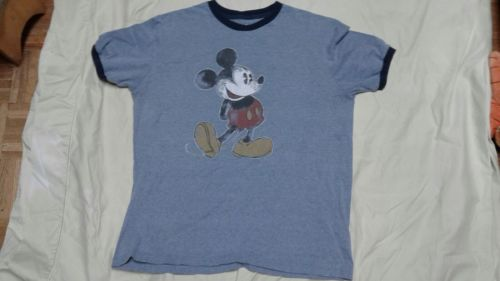 Pre owned blue mickey mouse ringer t shirt distressed mickey Disney parks size L