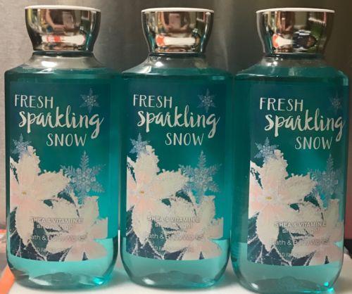 3 BATH & BODY WORKS FRESH SPARKLING SNOW SHOWER GEL 8 OZ EACH