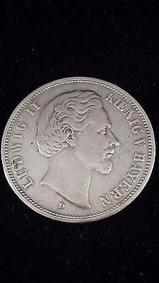 Deutsches Reich 1876 D Funf Mark, Ludwig II .900 Silver - Germany Bavaria