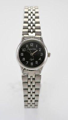 Charles Delon Watch Womens Black Stainless Silver Battery Water Resist Quartz