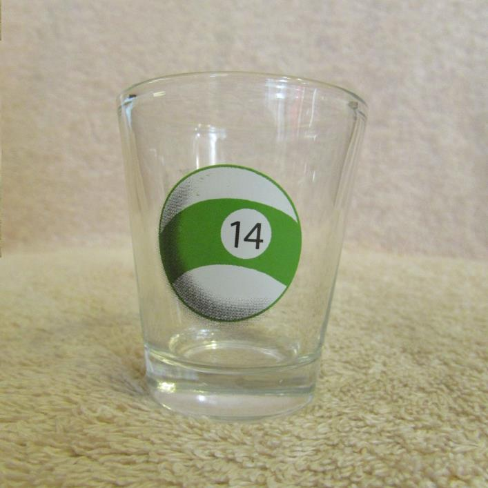 Billiard Pool #14 Ball Shot Glass CLEAR GLASS