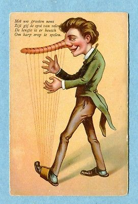 A6890   Postcard  Poem About Man Playing Harp Tied To Very Big Nose