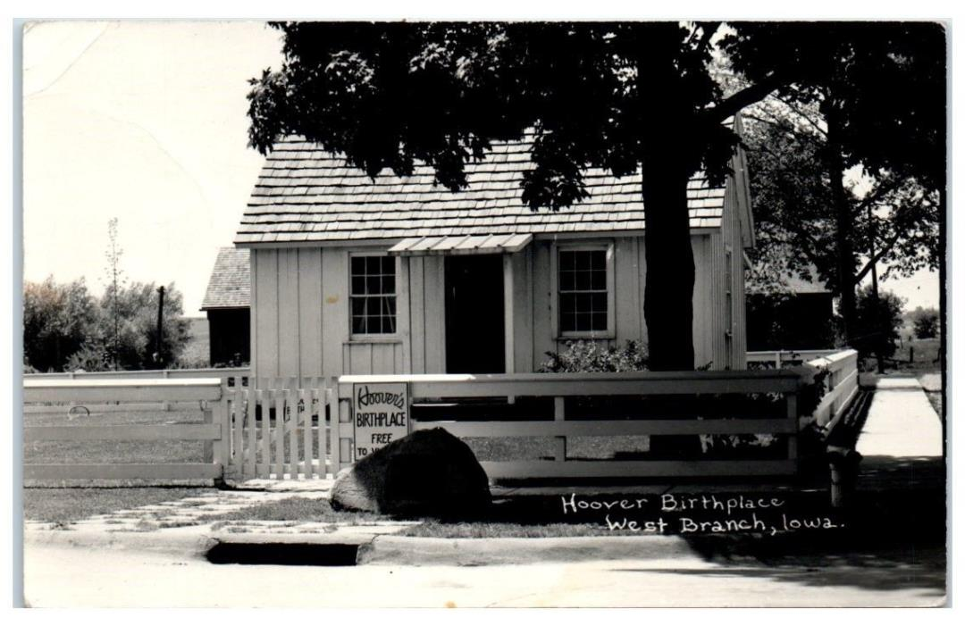 1942 Herbert Hoover's Birthplace, West Branch, IA RPPC Real Photo Postcard