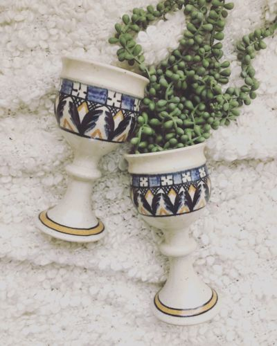 Set Of Two Handmade Vintage Pottery Ceramic Goblets Stoneware Boho Kitchen
