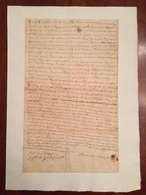 Colonial 1760 Long Island NEW YORK Land Deed Baiting Hollow NY Hutchinson Family
