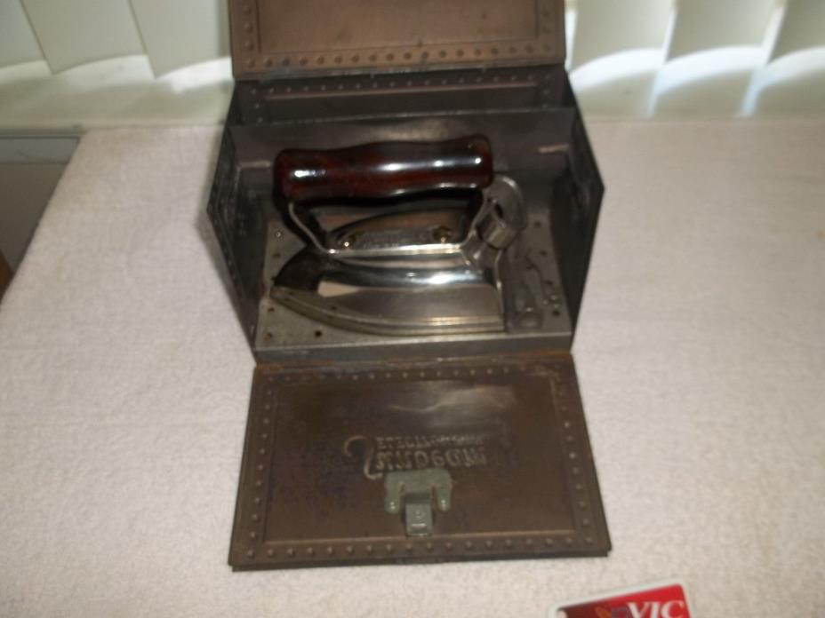 Sunbeam electric travel iron with metal storage box -  NO CORD