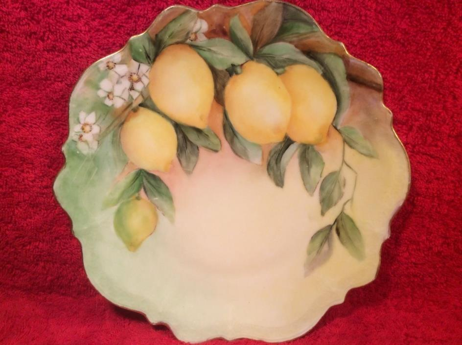 Antique German Hand Painted Lemons Cabinet Plate c.1875-1920 signed, p126