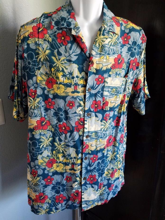 Mickey Disney Parks Medium Men's Shirt Pluto Tiki Surfboard Hawaiian Vintage