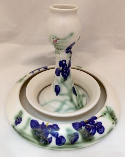 Clouds Porcelain Folsom CA Flower Ring Vase and Candlestick Centerpiece Iris