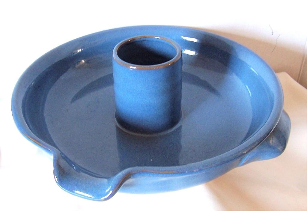 Blue Ceramic Hand Thrown Pottery Microwave Bacon Cooker double handle pour spout