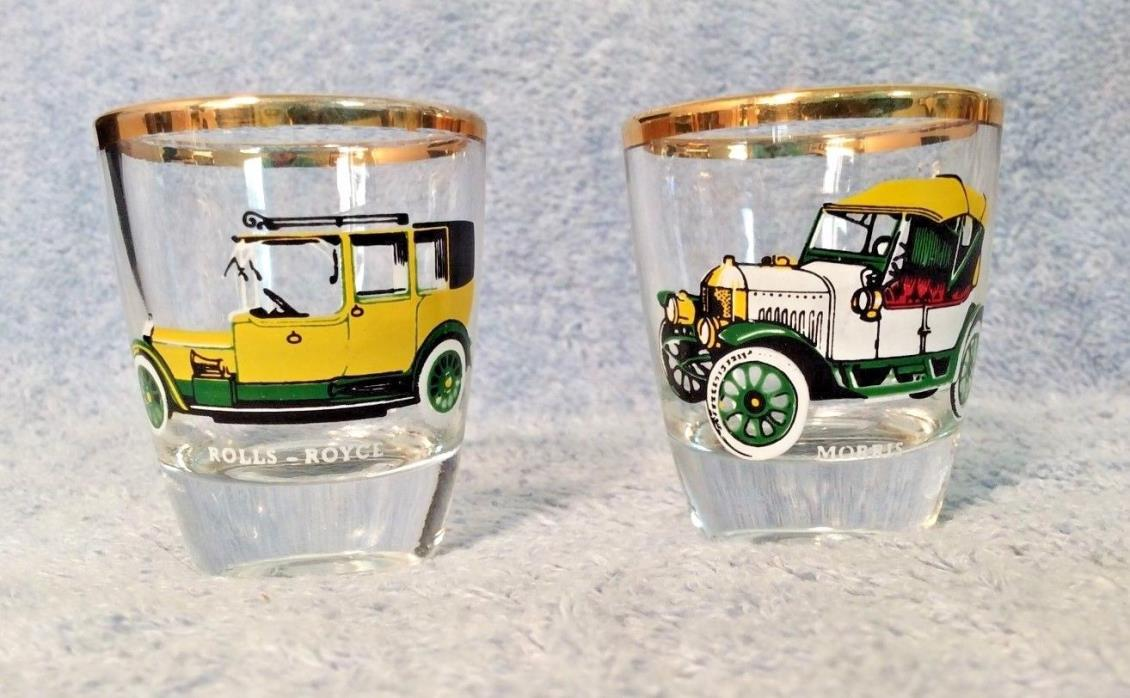 Vintage 2 German RUHRGLAS Antique Car Shot Glasses Morris Rolls Royce Gold Trim