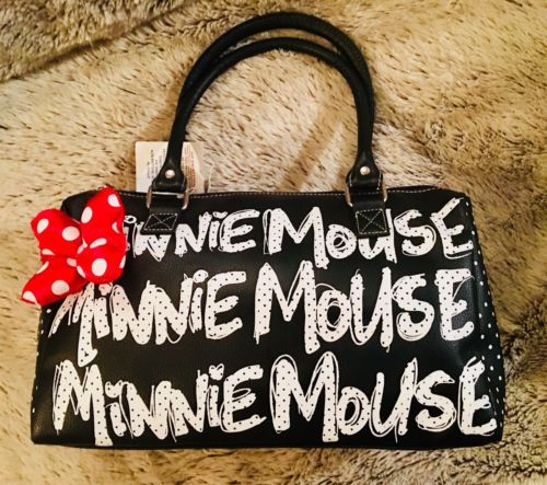 Disney Theme Parks Black Polka Dot Minnie Mouse Black Handbag Purse Red Bow NWT