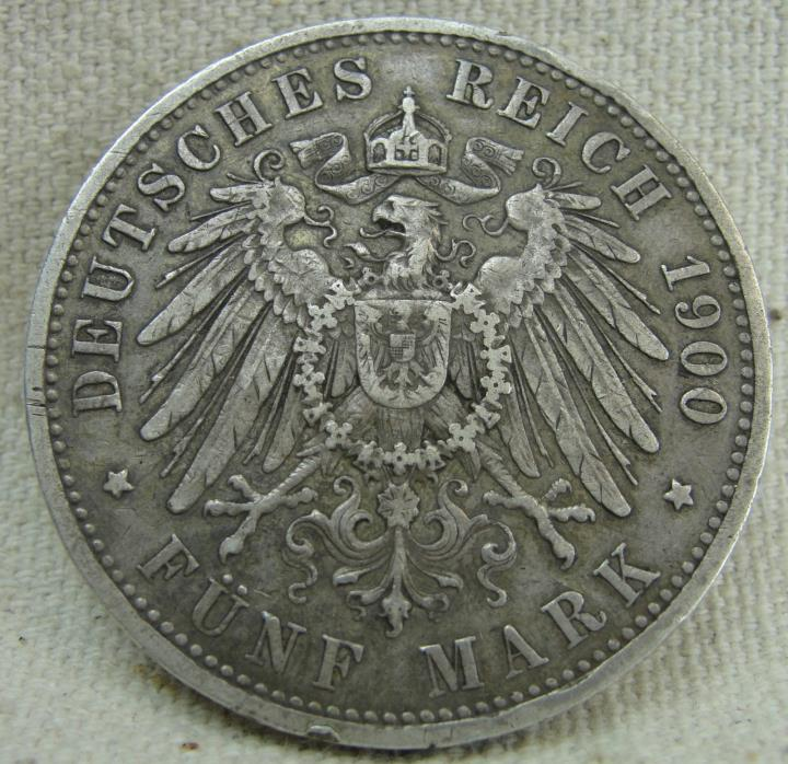 PRUSSIA (German State) 5 Mark 1900 A - Old World Silver Coin - Wilhelm II.