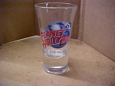 SHOT GLASS = PLANET HOLLYWOOD - LAS VEGAS - TALL - USED = NO CRACKS OR CHIPS