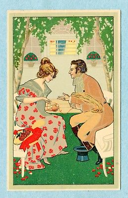 A6860 Postcard  Picture of Couple Sitting in Garden Wrapping Yarn into Ball