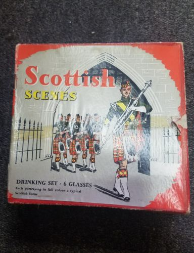 Vintage Set Of 6 Scottish Scenes Shot Glasses